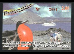 Ecuador: 2002, Blockausgabe Gipfeltreffen Tourismus und Umwelt (Motiv Vögel und Schiffe)
