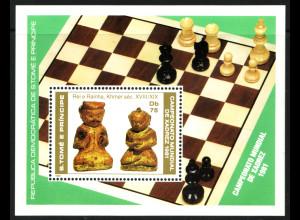 Sao Tomé und Principe: 1981, Blockausgabe Schach-WM