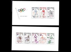 Dominikanische Republik: 1957, Blockpaar Sommerolympiade Melbourne (ungezähnt)