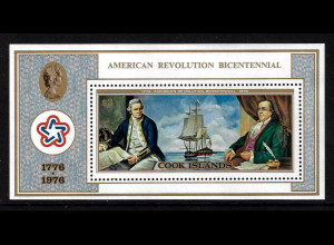 Cook-Inseln: 1976, Blockausgabe 200 Jahre Unabhängigkeit USA (Motiv Segelschiff)