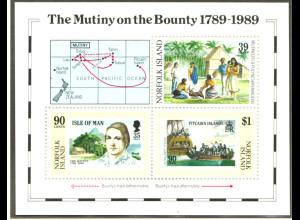 Norfolk-Insel: 1989, Blockausgabe Meuterei auf der Bounty
