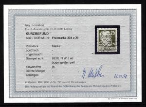 """DDR: 1952, Köpfe II 25 Pfg. gestempelt """"Berlin W8"""", Fotobefund BPP"""