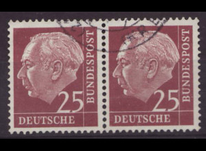 Bundesrepublik: 1954 Heuss I 25 Pfg. (knapp gestempeltes waager. Paar, M€ 70,-