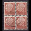 Bundesrepublik: 1954, Heuss I 4 Pfg. (zentr. gest. Viererblock)