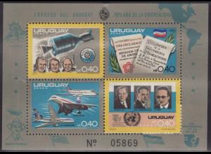Uruguay: 1975, Blockausgabe Jahresereignisse (auch Motiv Weltraum, Concorde)