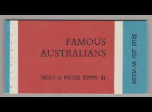Australien: 1968, Markenheftchen Freimarken Berühmte Australier