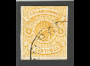 Luxemburg: 1859, Wappen 4 C. gelb (am Oberrand berührt, gepr. Demuth BPP)