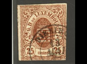 Luxemburg: 1859, Wappen 25 C. braun (gepr. Demuth BPP, M€ 350,-)