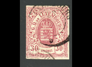 Luxemburg: 1859, Wappen 30 C. rotlila (einseitig angeschnitten)