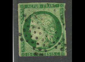 Frankreich: 1849, Ceres 15 C. gelbgrün, seltene Marke 2. Wahl, Punktstempel