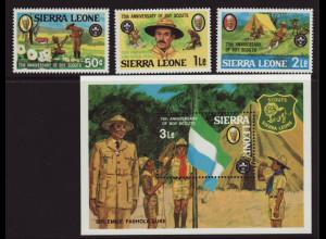 Sierra Leone: 1982, Pfadfinder (Satz und Blockausgabe)