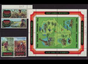 Sambia: 1972, Blockausgabe Naturschutzjahr (Wildtiere vor Landkarte)