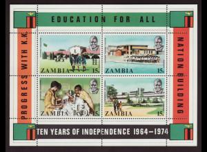 Sambia: 1974, Blockausgabe Unabhängigkeit