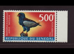 Senegal: 1968, Freimarken Einheimische Vögel 200 Fr. Gaukler (Höchstwert)