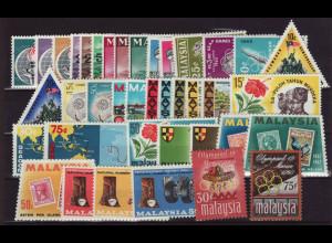 Malaysia: 1964/68, Jahrgänge komplett (ohne Freimarken Vögel)