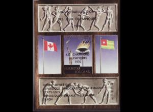 Togo: 1976, Überdruck- Blockausgabe Goldmarke mit Überdruck Olympiasieger