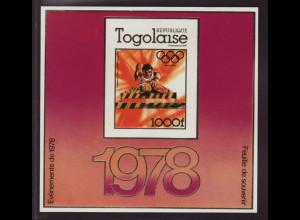 Togo: 1978, Goldausgabe Sommerolympiade Moskau (ungezähnt, Motiv Hürdenlauf)