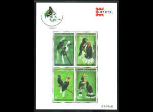 Thailand: 1996, Ausstellungsblockausgabe Nashornvögel