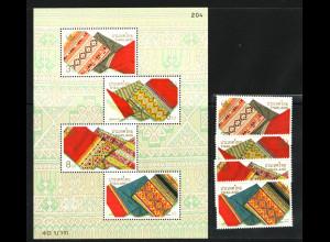Thailand: 2000, Gewebte Chok-Stoffe (Satz und Blockausgabe)
