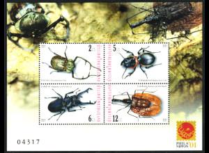 Thailand: 2001, Ausstellungsblockausgabe Insekten (Philanippon)