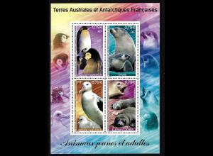 TAAF (Franz. Antarktis): 2002, Blockausgabe Tiere und Ihre Jungen