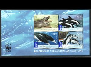 Australien: 2009, Blockausgabe Wale und Delphine (WWF-Ausgabe)
