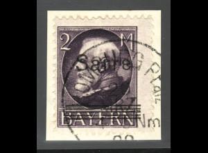 Saargebiet: 1920, König Ludwig 2 Mk. (Briefstück, gepr. Burger BPP)