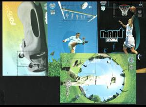 Argentinien: 2008, Blocksatz Sportidole (4 Blöcke, Autorennen, Golf, Rugby und Basketball)