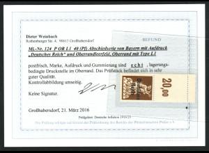 1920, Bayern-Abschied 40 Pfg., Oberrandstück sehr seltene Type (Befund BPP)