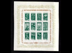 Bulgarien: 1953, Blockausgabe Bergblumen und Heilpflanzen, M€ 50,-