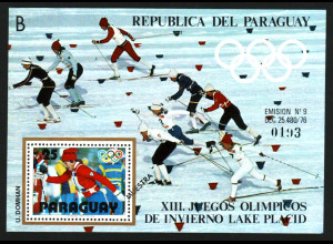 Paraguay: 1979, Blockausgabe Winterolympiade Lake Placid (Skilanglauf)