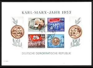 1953, Marx-Block mit vier Marken gezähnt (Bedarfsstück, bessere WZ-Type YII)