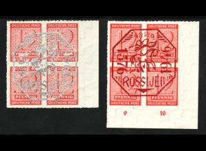 Roßwein: beide Viererblöcke mit Aufdruck (postfrisch, M€ 120,-)