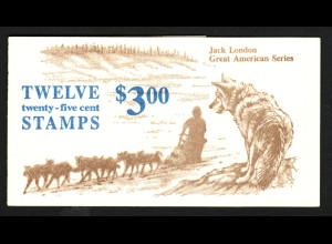 USA: 1988, Markenheftchen Jack London, (enthält 12 Marken Kat.-Nr. 1782)
