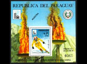 Paraguay: 1979, Blockausgabe Winterolympiade Lake Placid (Skiabfahrtsläufer)