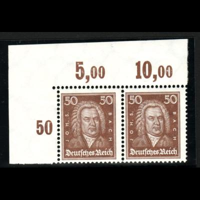 1926, Bach 50 Pfg. (waager. Eckrandpaar oben links im Plattendruck, Neugummi)