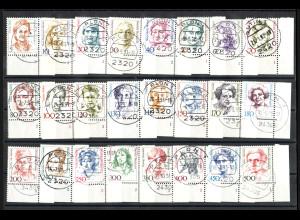 1986/92, Dauerserien Frauen (Eckrandstücke unten rechts mit Formnummern)