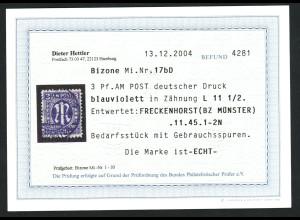Bizone: 1945, AM-Post Deutscher Druck 3 Pfg., sehr seltene Type (Fotobefund)