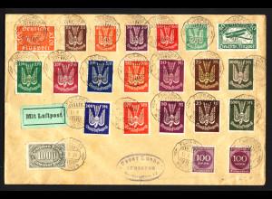 1923, Großformatiger Flugpostbrief mit den kompletten Flugpostmarken Holztaube