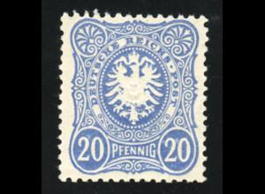 1885, 20 Pfg. lebhaftultramarin (farbgepr. Zenker BPP, M€ 170,-)