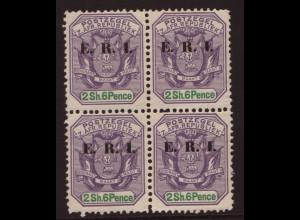 Transvaal: 1901, Überdruckausgabe E.R.I. 2,6 Sh. (Viererblock)
