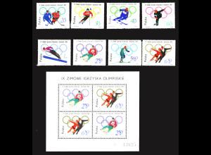 Polen: 1964, Winterolympiade Innsbruck (Satz und Blockausgabe)