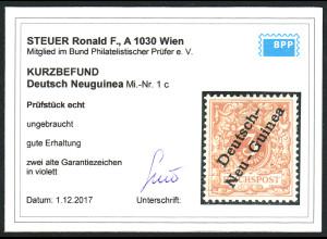 DNG: 1899, Krone/Adler 3 Pfg. lebhaftbraunocker (Kurzbefund Steuer BPP)