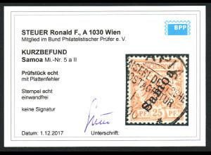 Samoa: 1900, Krone/Adler 25 Pfg. mit Plattenfehler (Kurzbefund BPP)