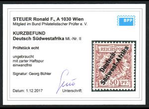 DSW: 1897, Krone/Adler 50 Pfg. (nicht mehr verausgabter Wert, Kurzbefund BPP)