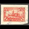 Marianen: 1901, Kaiserjacht ohne WZ 1 Mk. (Briefstück, gepr. Steuer BPP)