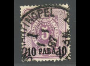 Deutsche Post in der Türkei: 1884, 10 Para auf 5 Pfg. (farbgepr. BPP)