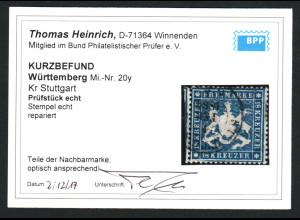 Württemberg: 1861, 18 Kr. Höchstwert (Kurzbefund Heinrich BPP)