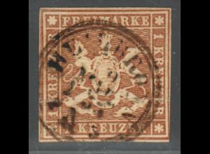 Württemberg: 1857, Wappen 1 Kr. bessere Farbe hellbraun (farbgepr. BPP)