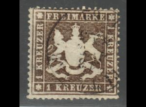 Württemberg: 1861, Wappen 1 Kr. schwarzbraun (gepr. Heinrich BPP)